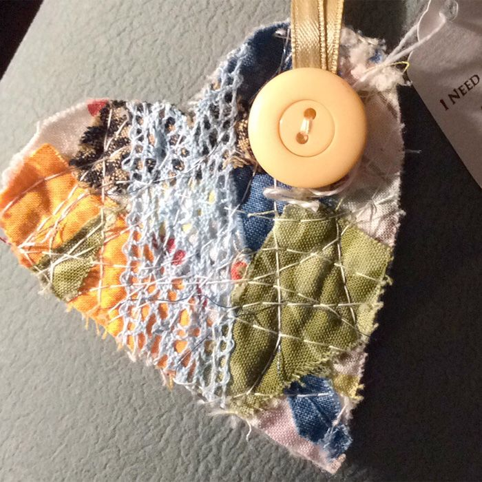 My Hubby found this heart in Amador City, CA on an insulator on our fence. The new home will most likely be Sophia our granddaughter on Easter Sunday. Very special. #ifaqh #ifoundaquiltedheart