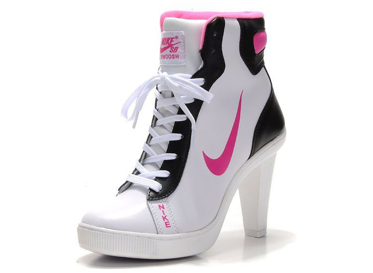 Nike Dunk Hi-Top Block Heels For Womens White Black Pink Dunk SB heels with  High top make a long out view with your leg . those block heels will make  easier ... ee8ec5557d