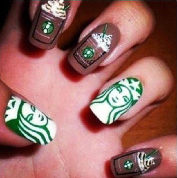 Starbucks nails ❤ ho has time to do this but still cute!