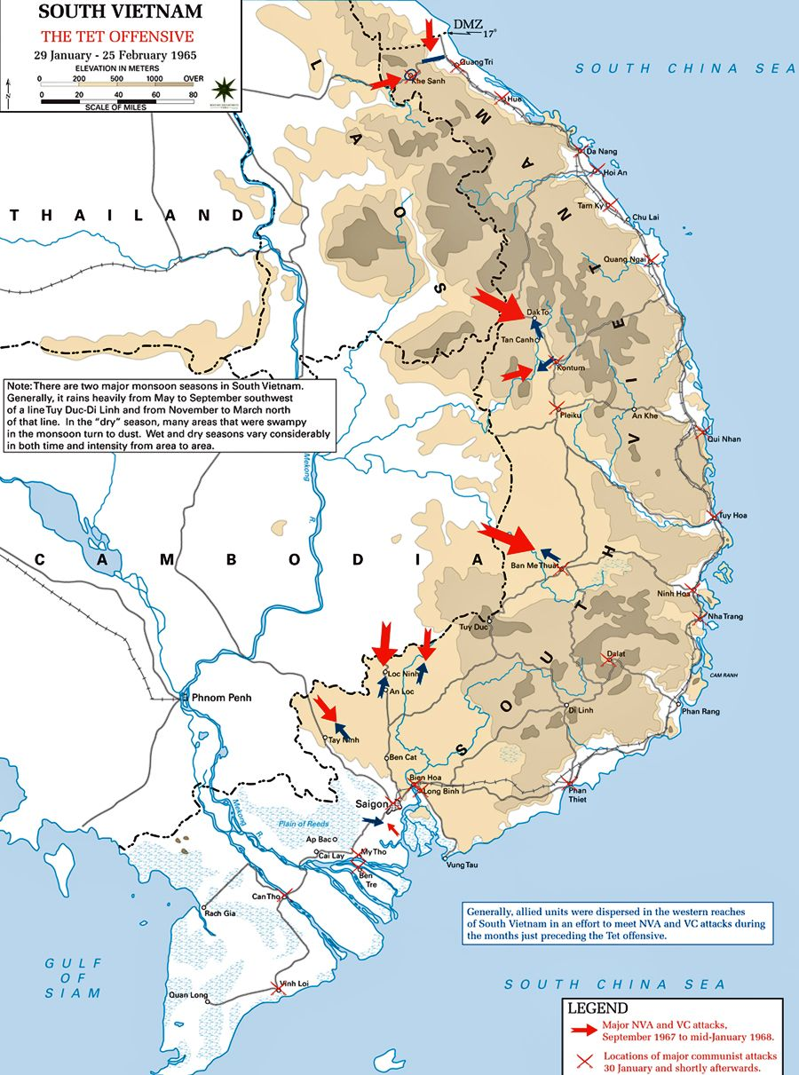 Map Of The Tet Offensive During The Vietnam War McKenzie English - Us 101 south map