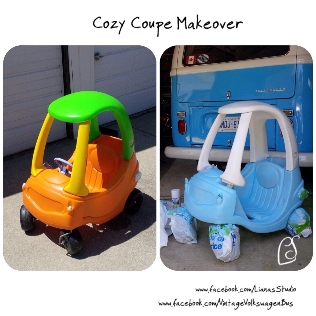 Cozy Coupe turned Volkswagen Van! I used spray paint for plastic and