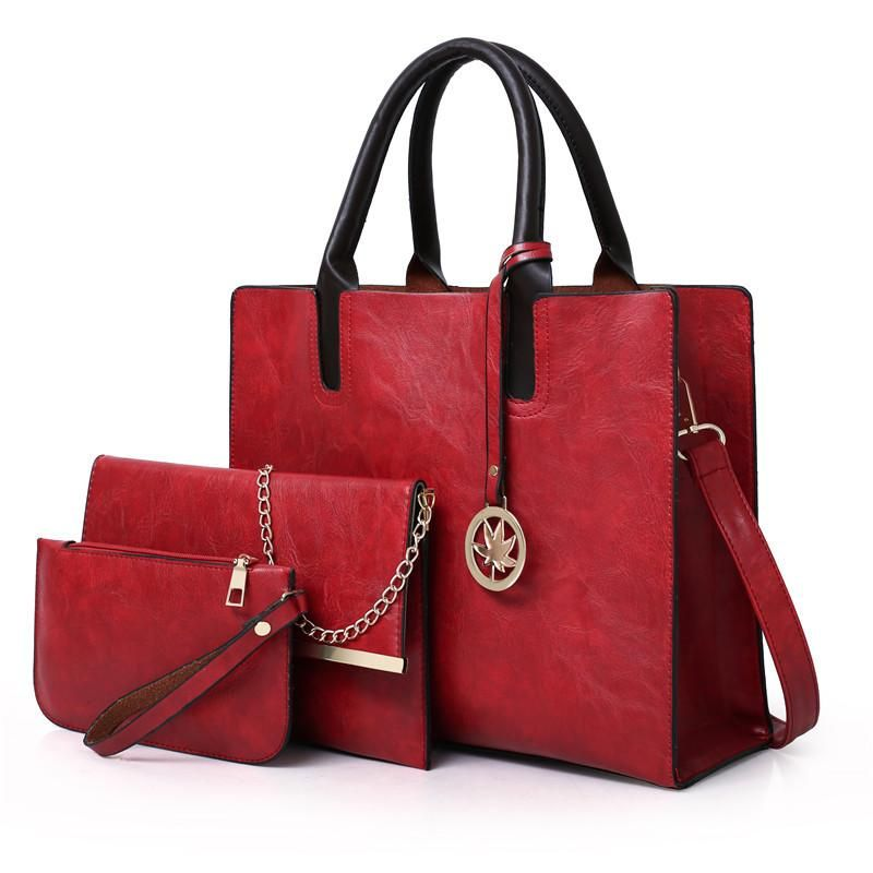 Women Bags Set 3 Pcs Leather Handbag Tote Bags Ladies Shoulder Bag Handbag+Messenger Bag+Purse