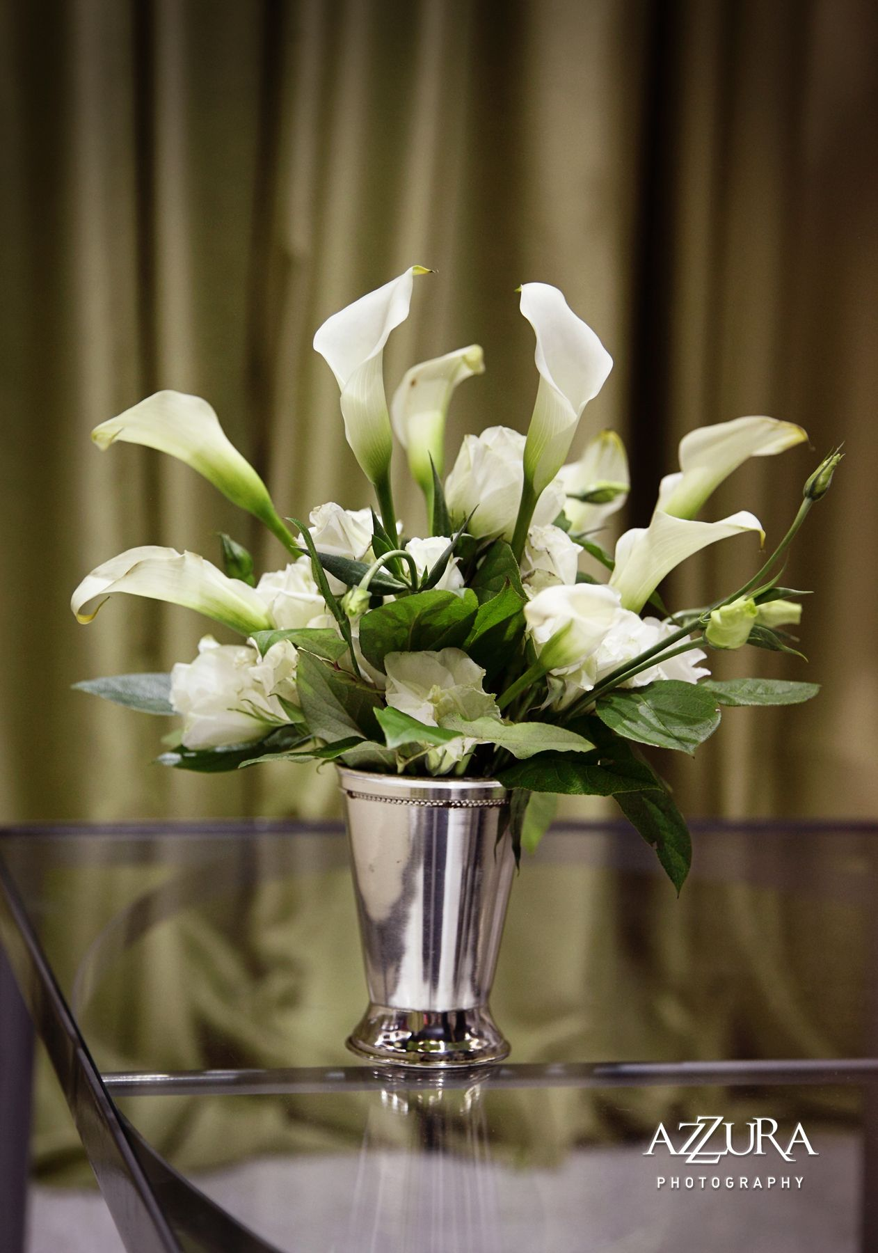 White calla lily lisianthus centerpiece by aria style