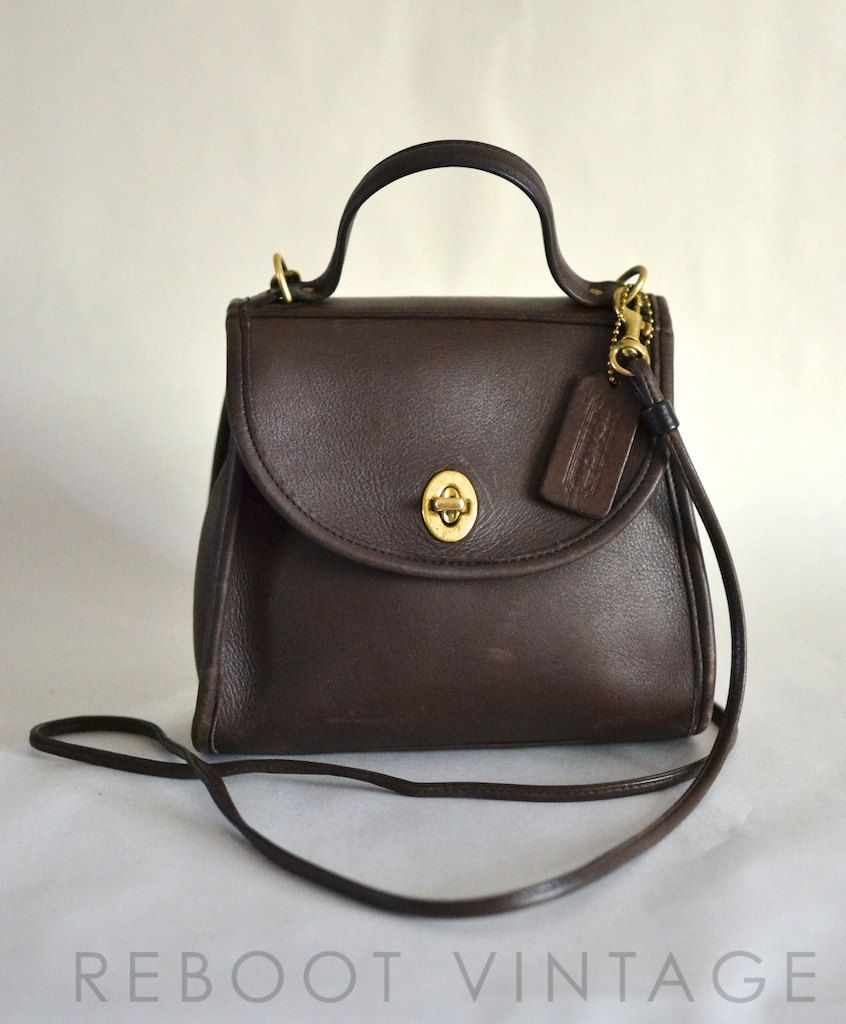 8955e4f6a9732 Vintage COACH Small Brown Leather Turnlock Crossbody Bag.  75.00 ...
