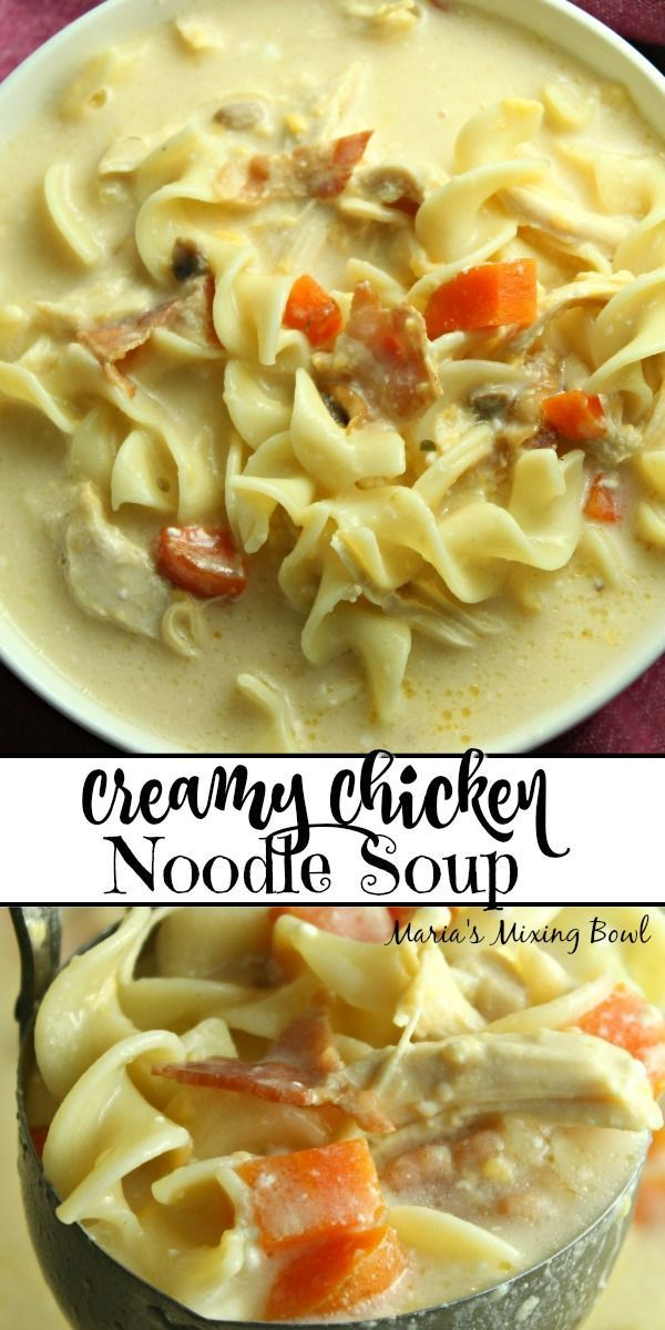 Creamy Chicken Noodle Soup - Maria's Mixing Bowl