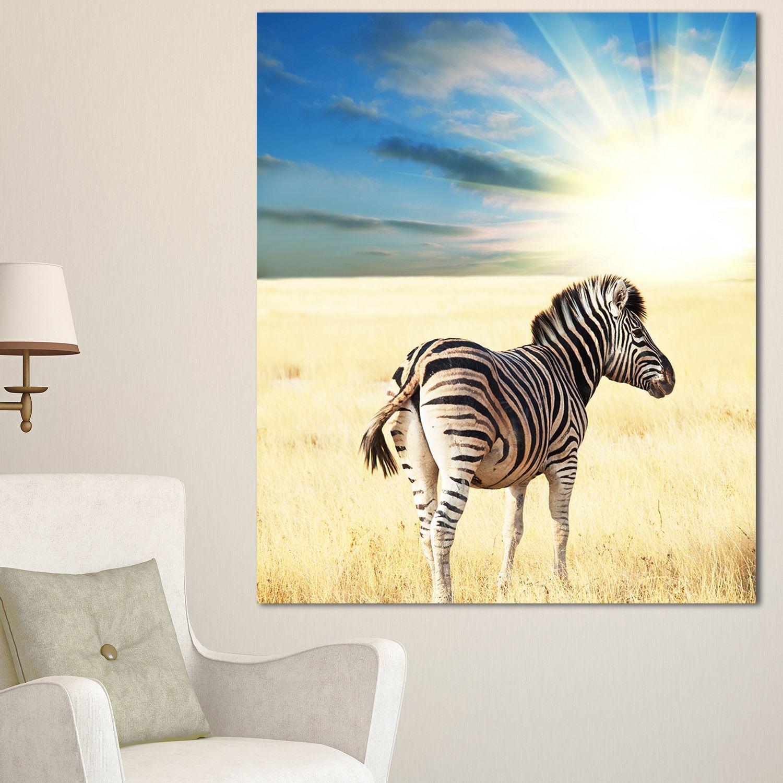 DESIGN ART Designart \'Wandering Zebra At Bright Sunrise\' African ...