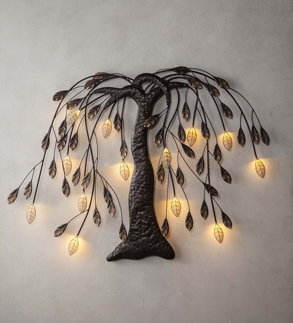 Graceful Flowing Branches And Pretty Lighted Leaves Make Our Lighted Willow Tree Wall Art An Accent Yo Metal Tree Wall Art Wall Sculpture Art Hanging Pictures