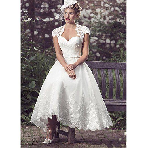 YASIOU Hochzeitskleid Standesamt Damen 3/4 länge Weiß Kurz Spitze ...