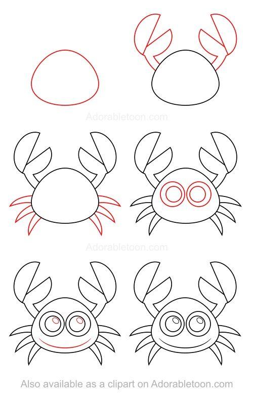 Pingl par sur apprendre dessiner pinterest - Dessiner un crabe ...