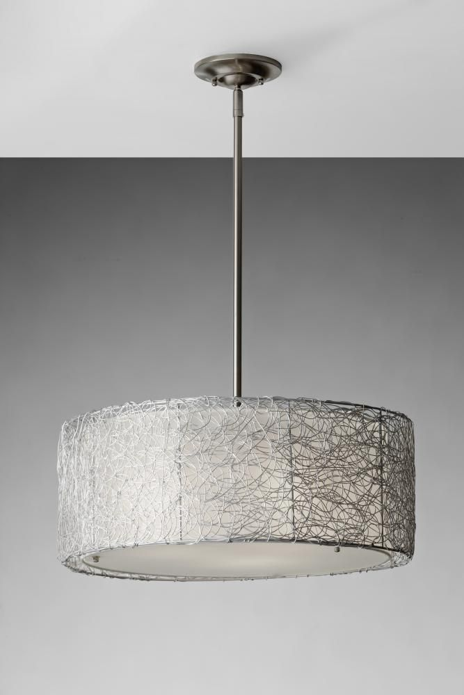 Lovely Light Nu0027 Leisure In Danvers, Massachusetts, United States, 341015, Three  Light Steel Drum Shade Pendant, Wired, Brushed Steel   Shade   Silver  Organza ...