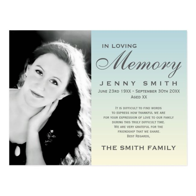 Pastel Blue Ombre Memorial Family Acknowledgement Postcard Zazzle Com In 2020 Memorial Cards For Funeral Prayer Cards For Funeral Memorial Cards