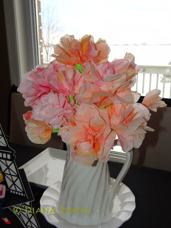 Happy Valentine's Day!!!! XOX paint party friday....watercoloured paper coffee filters turned into flowers!!!!!