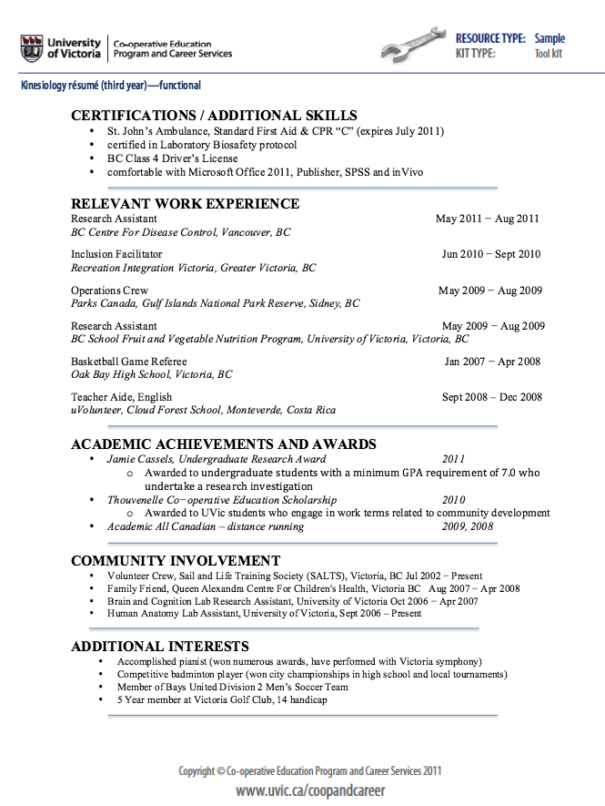 Example Of Kinesiology Resume Examples Resume Cv Resume Skills Resume Resume Examples