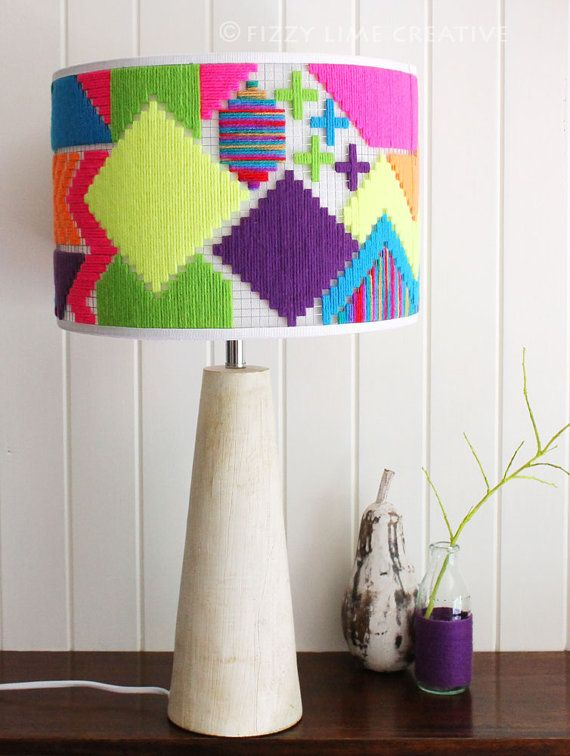 Round Lampshade  unique hand woven colourful by FizzyLimeCreative, $280.00