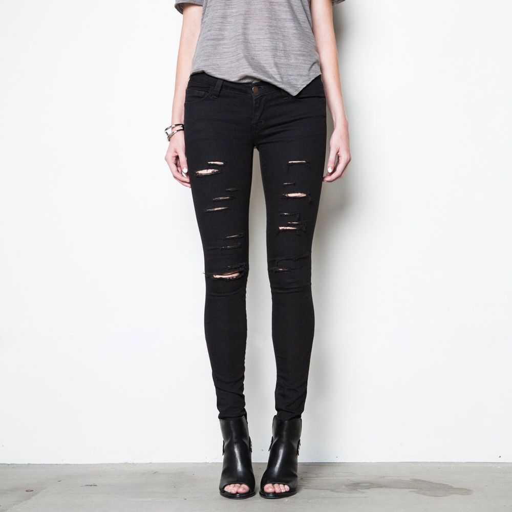 Womens Ripped Low Rise Skinny Jeans In Black Powerstretch | DSTLD ...