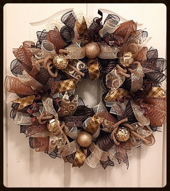 Christmas Chocolate, Gold and Brown Deco Mesh Wreath/Christmas Wreath/Gold and Brown Wreath/Chocolate, Cream, Gold and Brown Wreath #decomeshwreaths