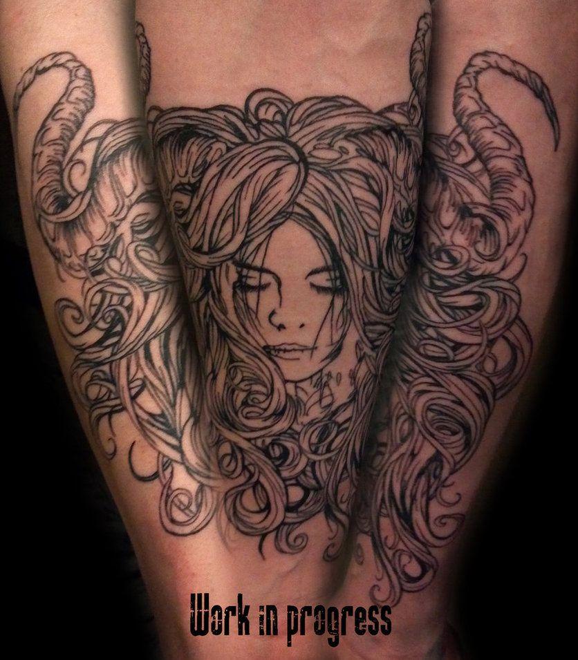 Horned girl tattoo - by Dan Mumford
