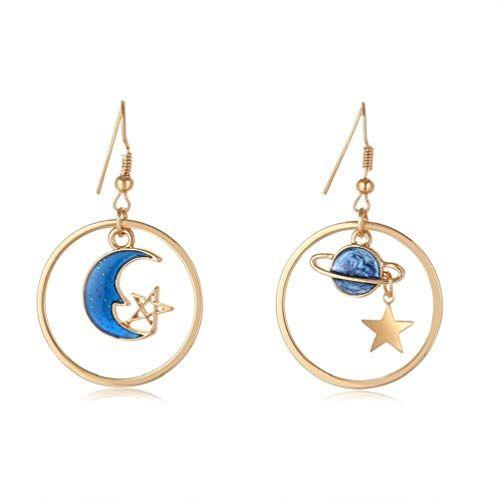 SAKAIPA Enamel Moon Star Earth Planet Drop Hook Earrings Long Pendant Dangle Jewelry for Woman Girls