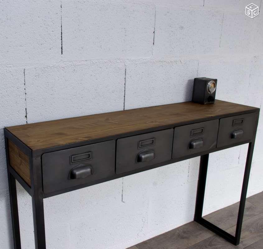 console d 39 entr e avec anciens tiroirs industriels d co. Black Bedroom Furniture Sets. Home Design Ideas