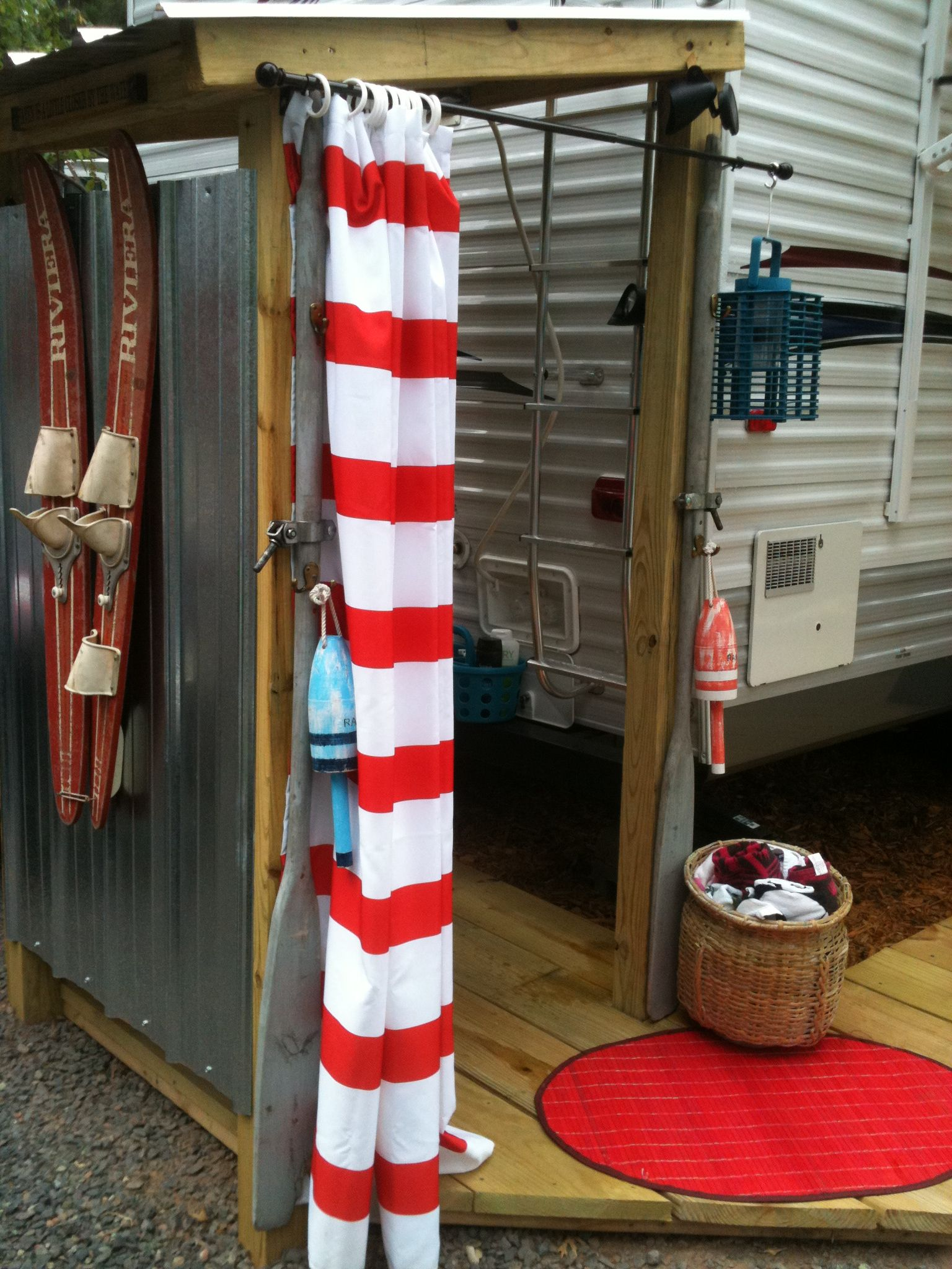 outdoor shower for seasonal camper site