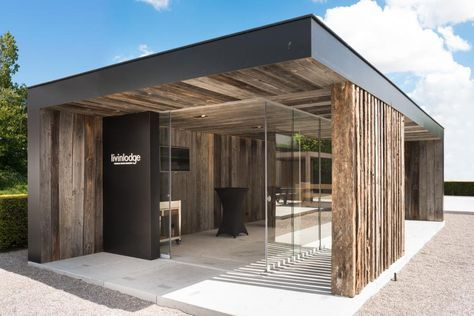 Modern poolhouse in trespa en hout bogarden making my
