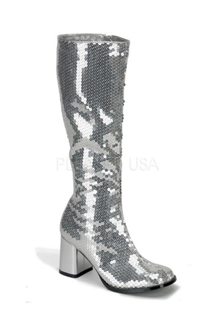 Boots Heel Chunky High Block Silver Knee Sequins Pinterest Shoes wqCEXBZHB