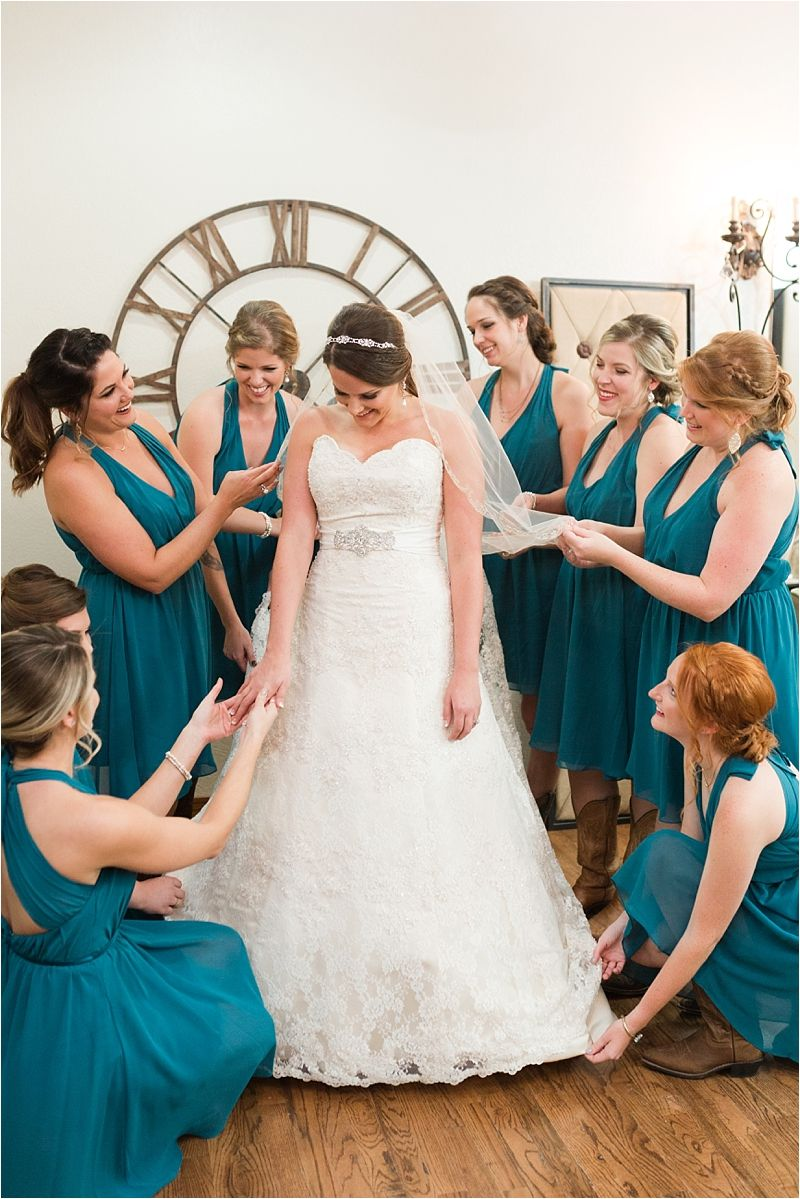 36c6efbfd1 When the bridesmaids first admire your wedding dress       love the deep  turquoise color of their bridesmaid dresses! Taken in THE SPRINGS in  Georgetown s ...