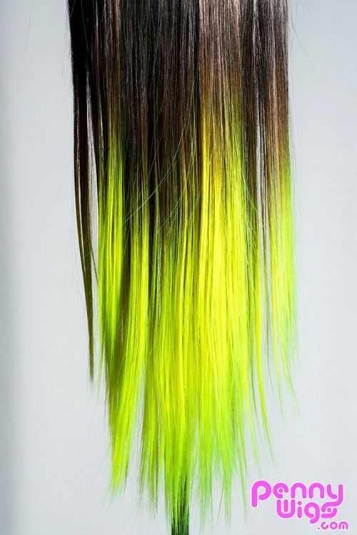 Ombré Lime Green Dip Dyed 7pcs Straight Clip-In Hair