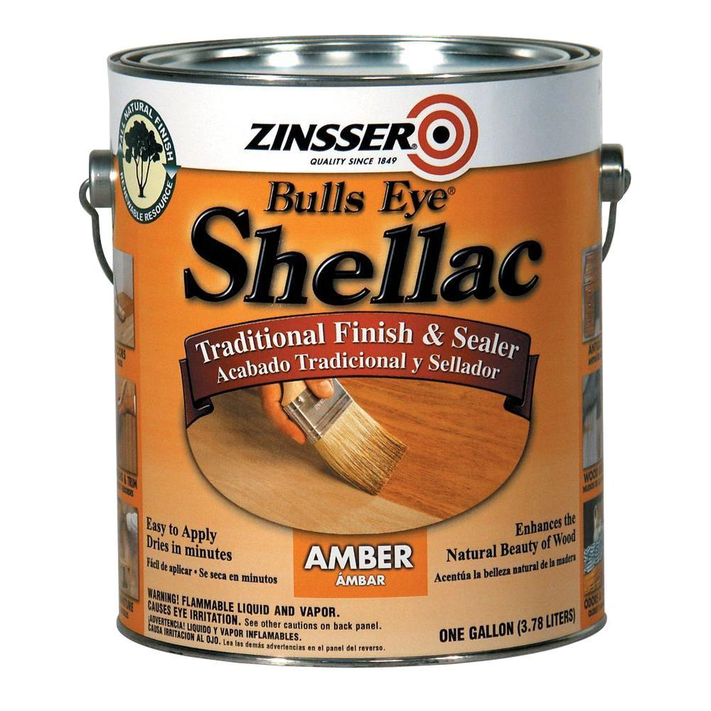 Zinsser 1 Gal Amber Shellac Traditional Finish And Sealer Case Of 2 701 The Home Depot Shellac Knotty Pine Walls Knotty Pine