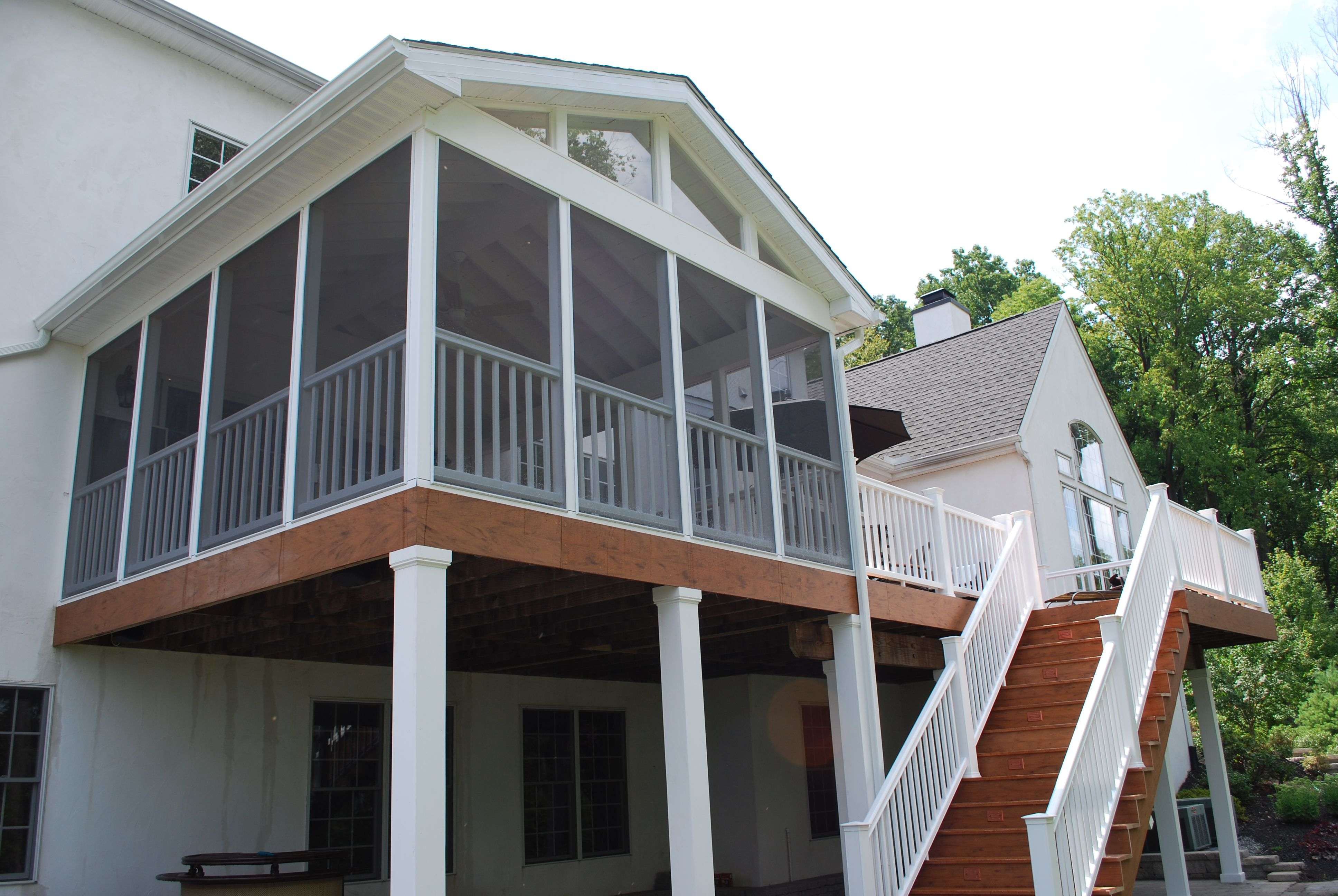 Elevated Screened Porch With Deck And Stairs Porch Design