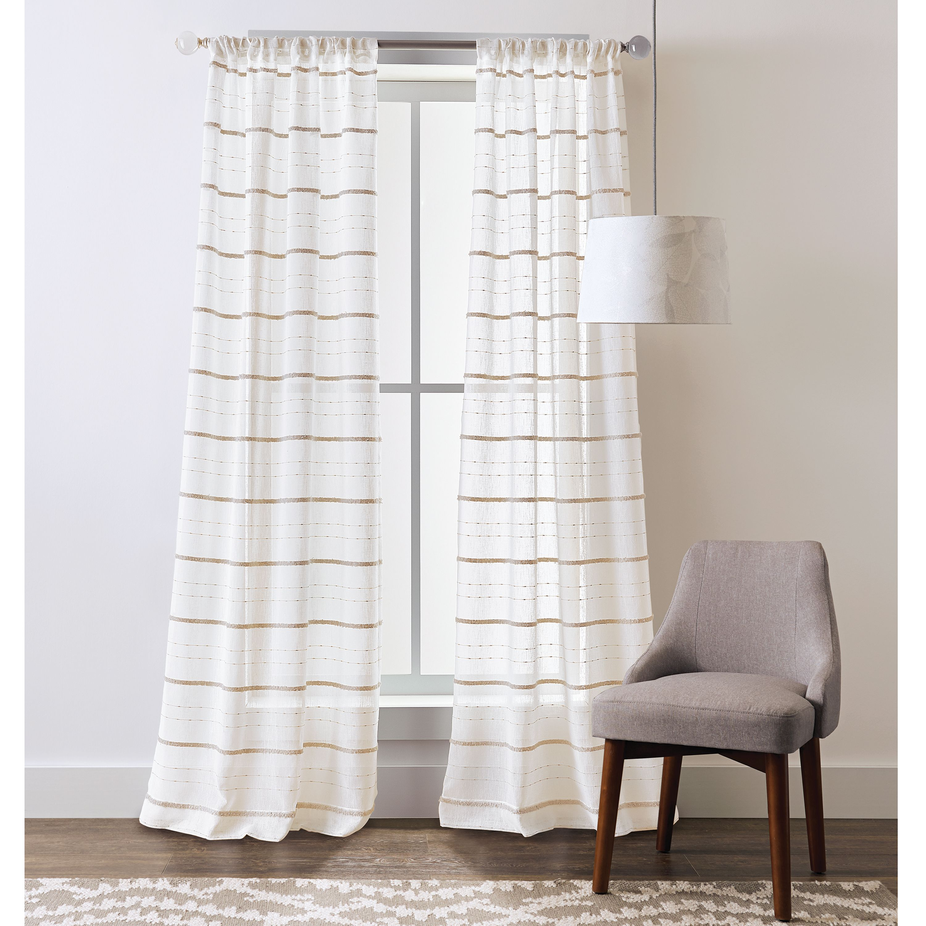 Better Homes And Gardens Woven Stripe Pole Top Curtain Panel Set Of 2 Walmart Com Better Homes And Gardens Panel Curtains Home And Garden