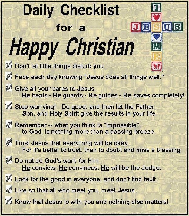 Daily Checklist For A Happy Christian  Faith  Study And Journals