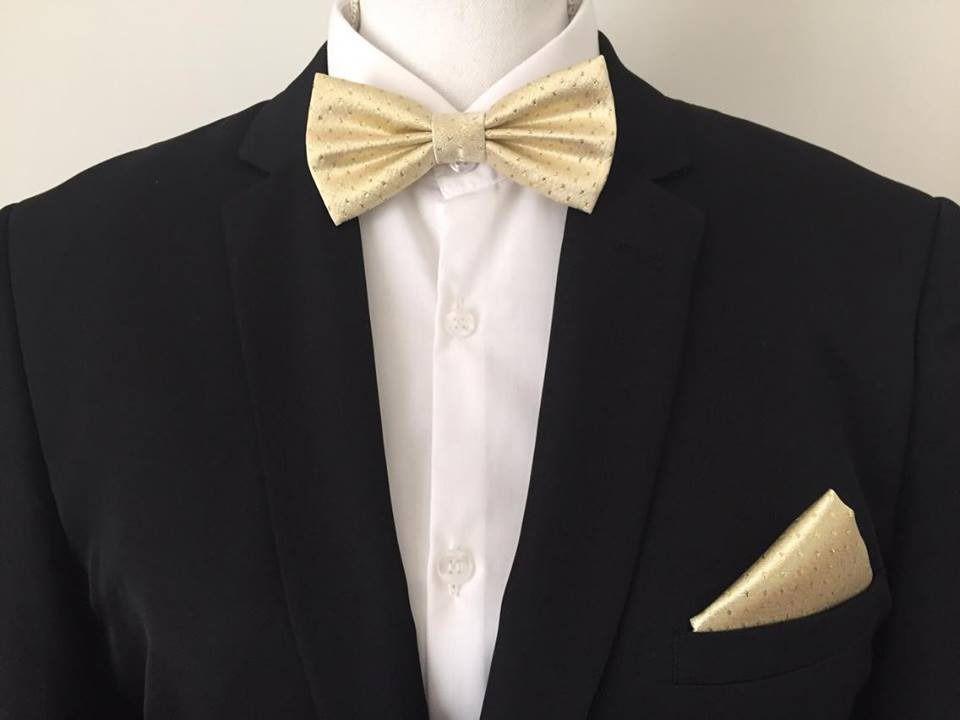 SET Elegant Noeud Papillon et Pochette costume assortie Doré - Homme