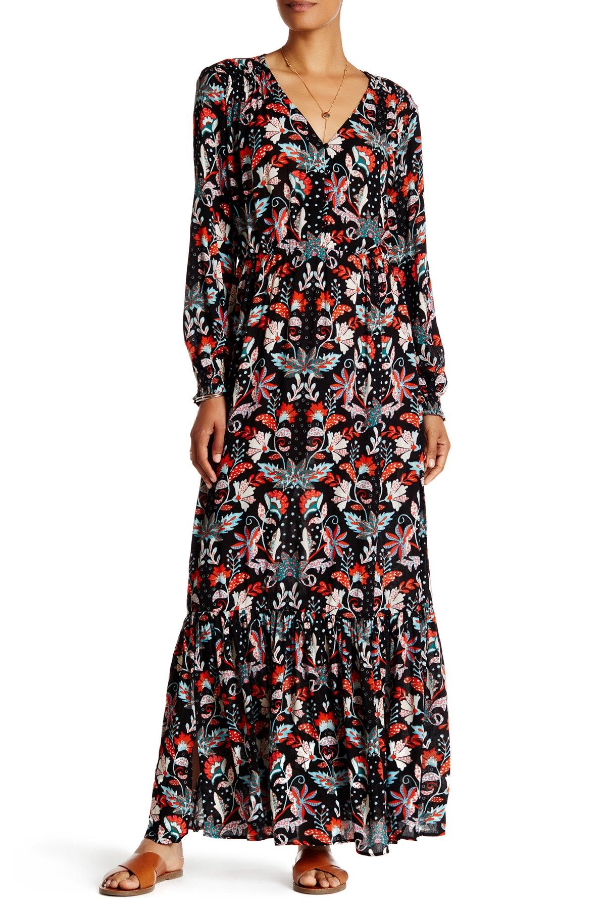 Long sleeve tiered floral print maxi dress style pinterest