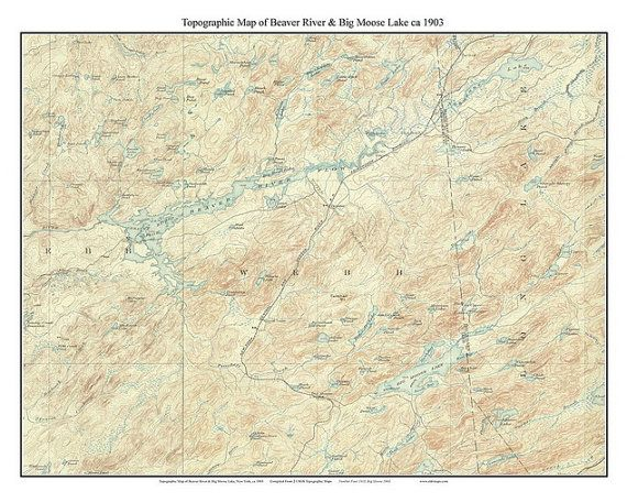 Map Of New York Rivers.Beaver River Big Moose Lake 1903 Usgs Old Topographic Map New