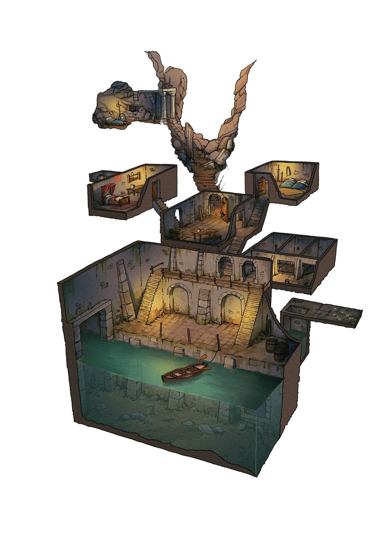 Environment Concept Going Down Cave Water Fantasy Map Dungeon Maps Fantasy Inspiration