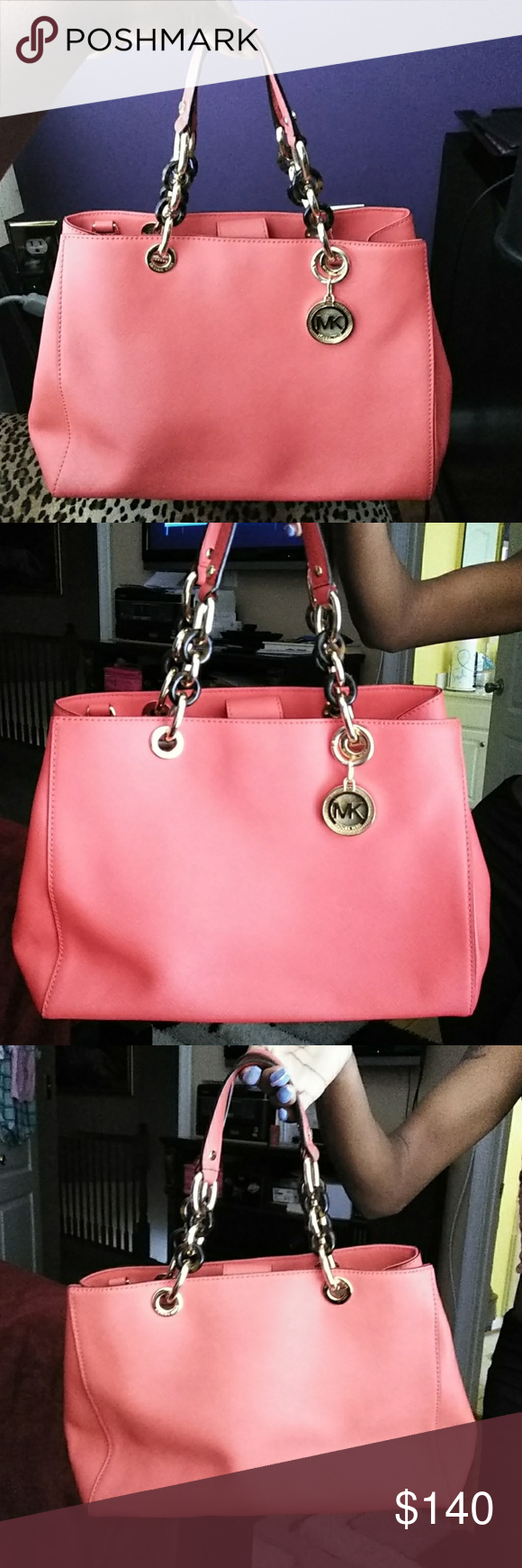 f40417619936 Michael Kors Cynthia Michael Kors Cynthia Medium Saffiano Leather Satchel  in Red. I ve