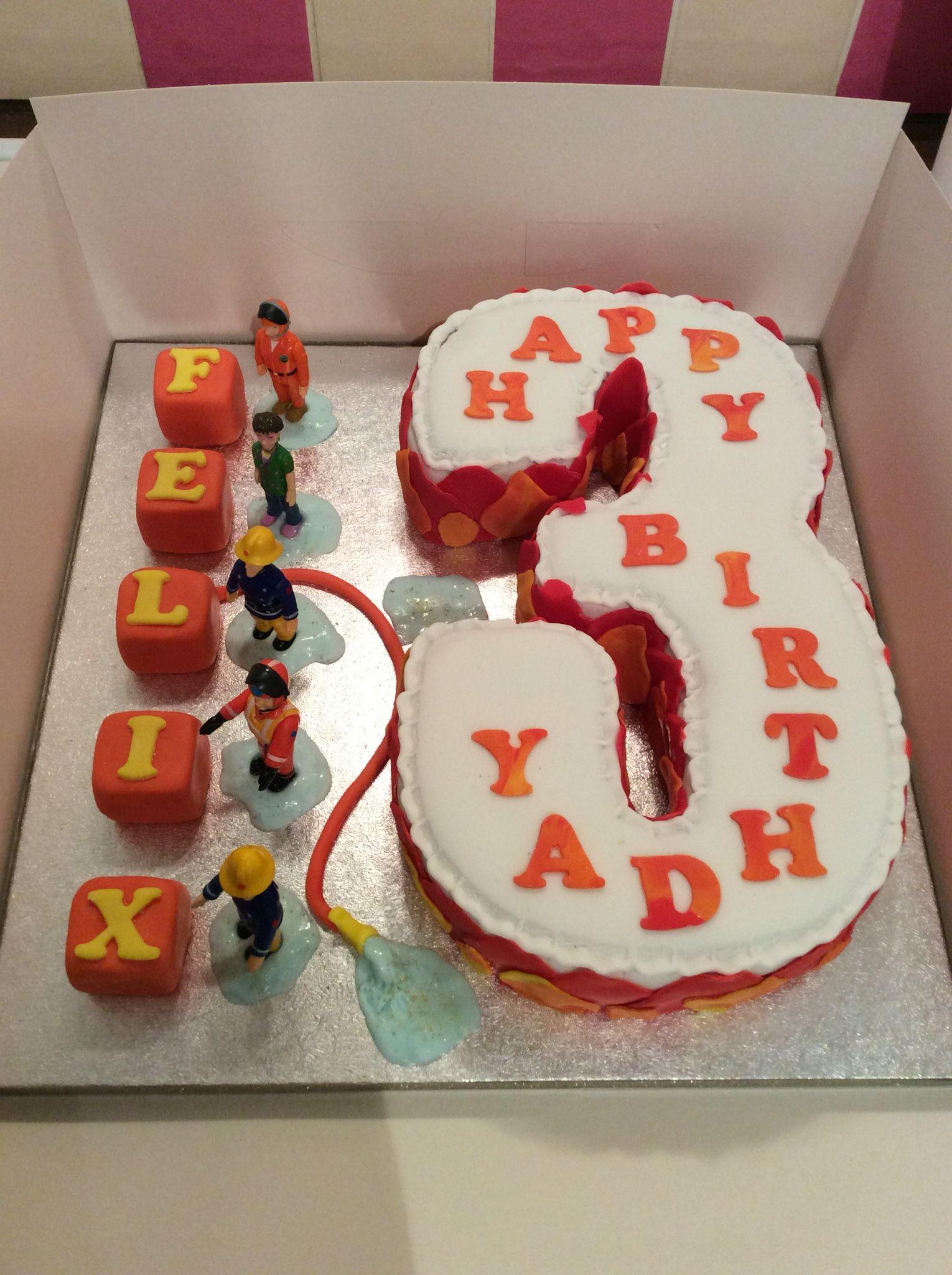 Fireman Sam Number  Birthday Cake For Rd Birthday Firefighter - 3 birthday cake