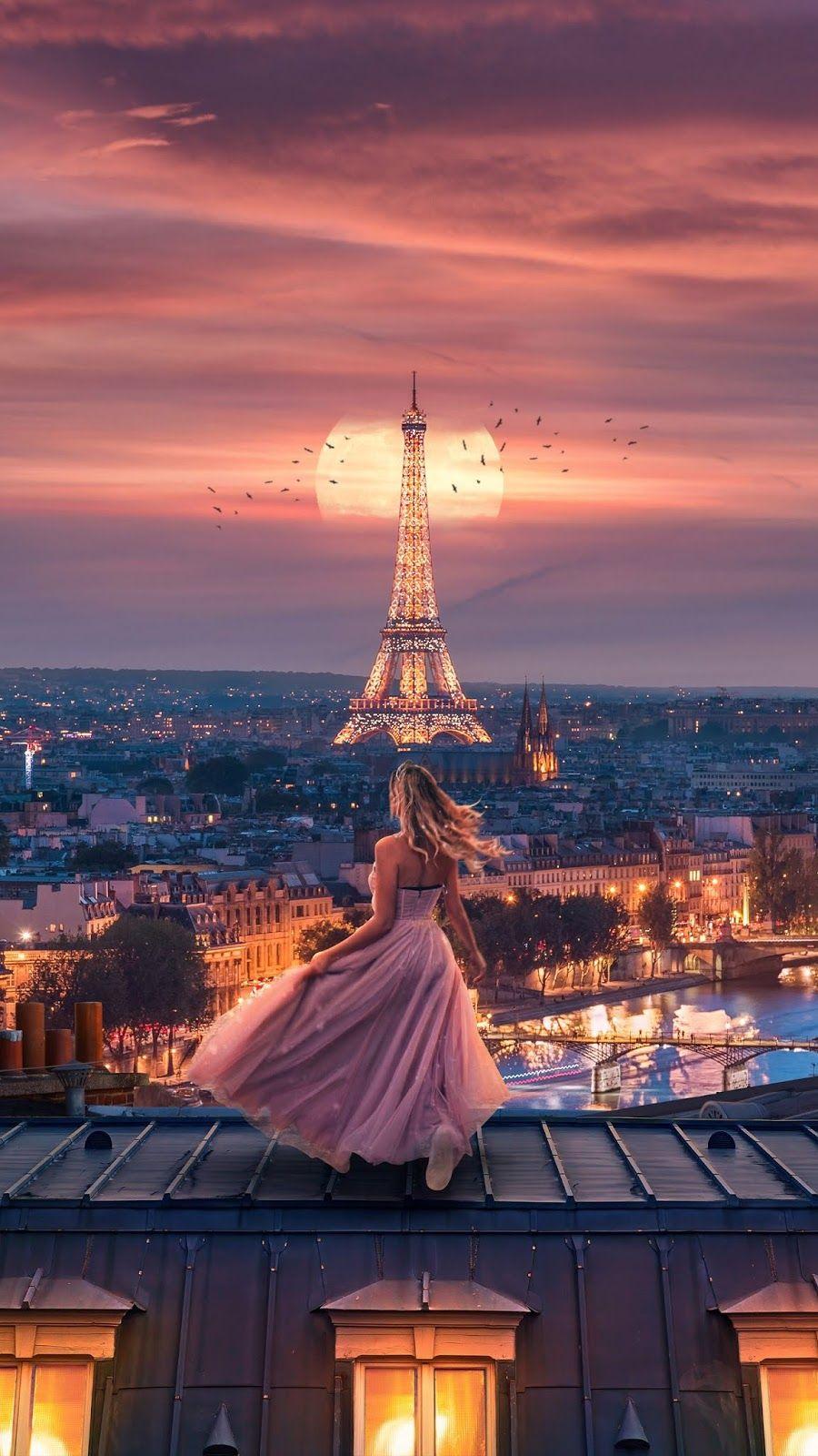 Moonlight Over Paris Mobile Wallpaper Paris Photography Eiffel Tower Paris Wallpaper Iphone Eiffel Tower Photography