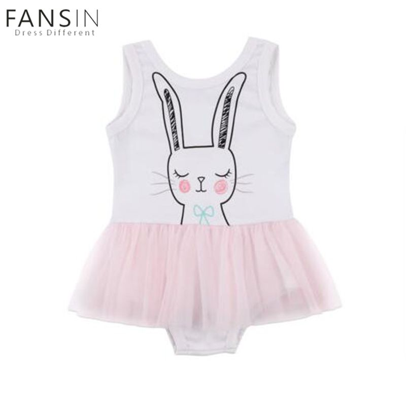 08949d84574 Cute Baby Girls Clothing Rompers Sleeveless Cartoon Rabbit Print Tutu  Princess Ballet Clothes Rompers Sundress Baby Girl 1-6Y