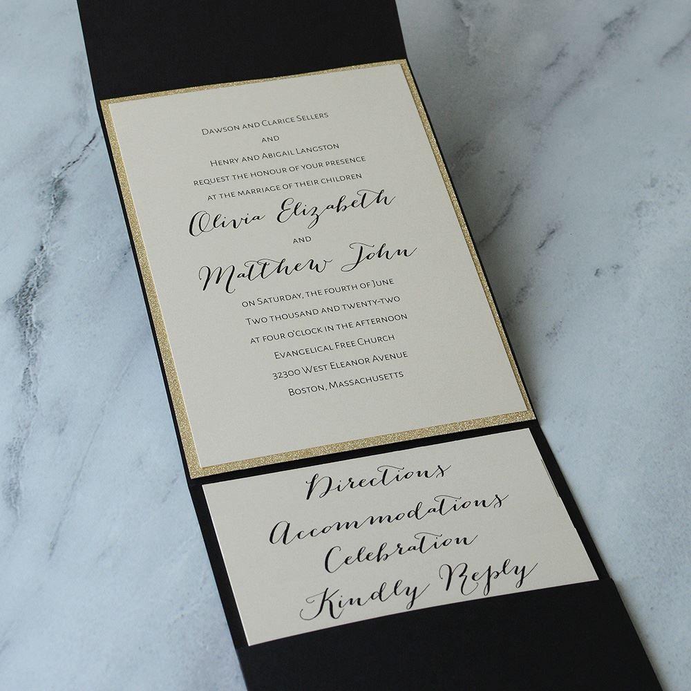 a50700cd3370d Glitter Elegance Gold Glitter Invitation | Invitations By Dawn. Black and gold  glitter wedding invitation