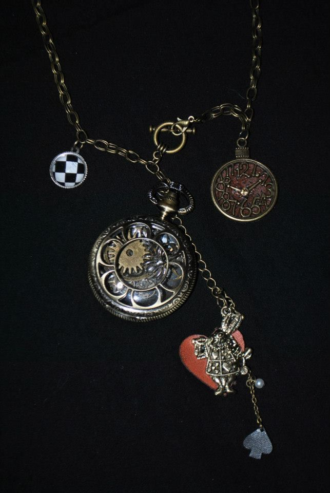 Watch with spider inside 30 brass chain with white rabbit watch watch with spider inside 30 brass chain with white rabbit watch face and checkered pendant aloadofball Images