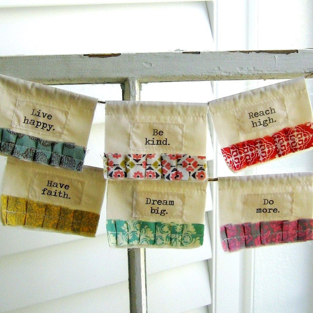 Prayer Flags, Fabric Bunting, Appliqued Flags, Fabric