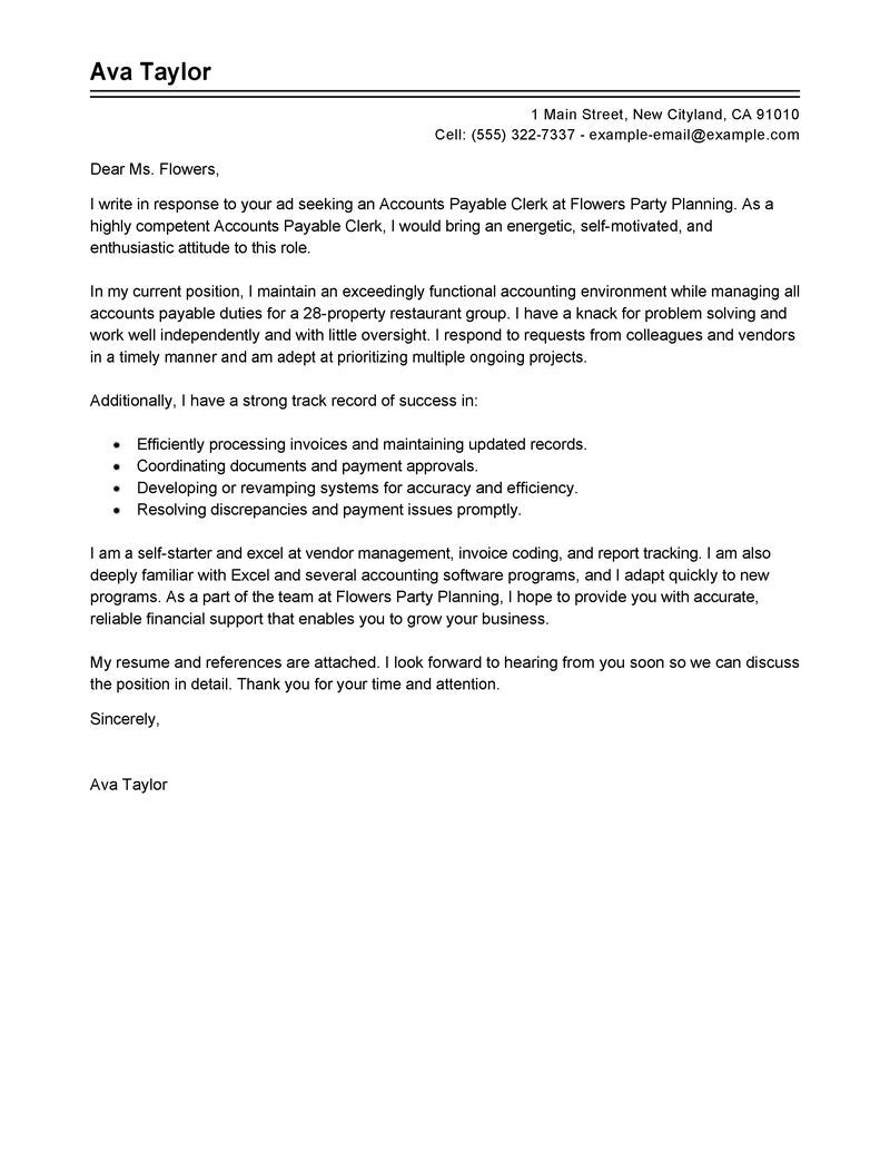 Accounts Payable Specialist Cover Letter Sample My Perfect Cover Letter Cover Letter For Resume Cover Letter For Internship Resume Cover Letter Examples