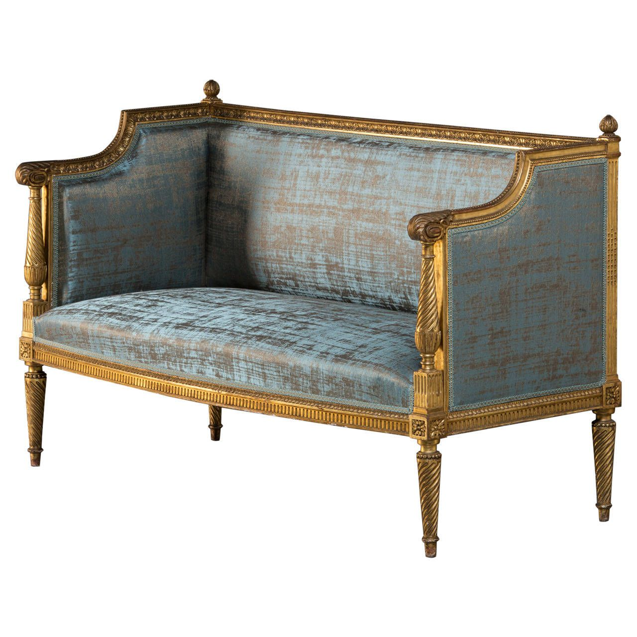 canape with original gilding louis xvi style from a. Black Bedroom Furniture Sets. Home Design Ideas
