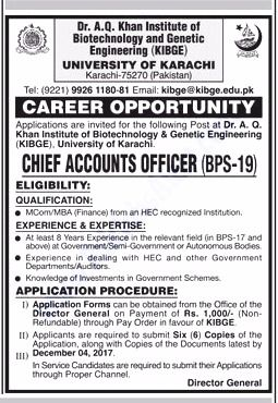 University Of Karachi Jobs  For Chief Accounts Officer Http