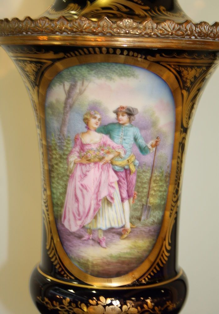 French Blue Vase in the style of Sèvres.1900