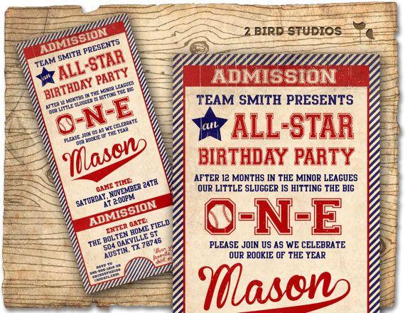 Baseball Birthday Invitation First