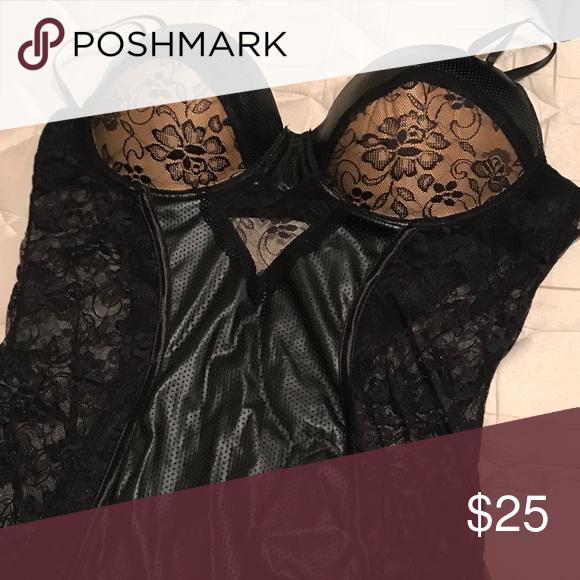 059cd6c89c27f Black and faux leather lingerie never worn Black lace and faux leather  lingerie cami seven til midnight Intimates & Sleepwear Chemises & Slips