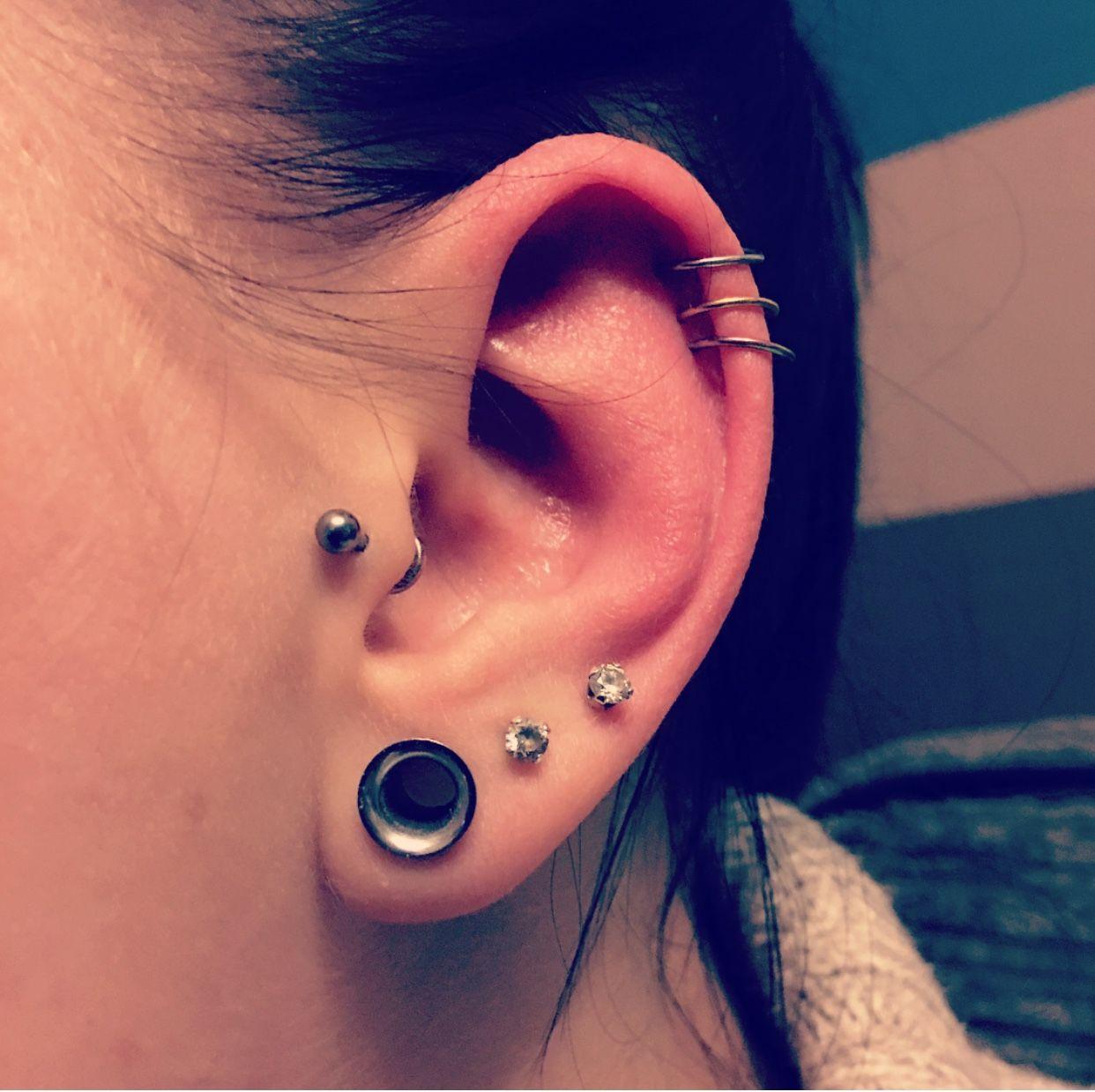 Triple helix piercing with tiny rings | Ear piercings ...